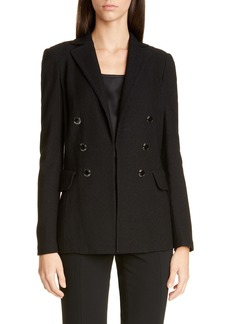 St. John Collection Gail Double Breasted Wool Blend Knit Blazer