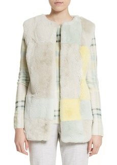 St. John Collection Genuine Rabbit Fur Intarsia Vest
