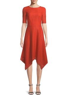 St. John Geo-Motif Coated Lace Half-Sleeve Dress