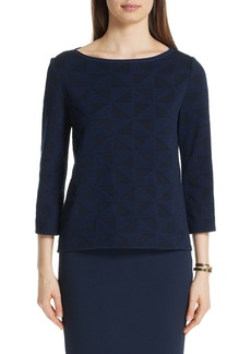 St. John Collection Geometric Blister Jacquard Top