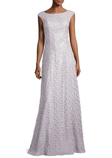 St. John Collection Gita Guipure Lace Bateau-Neck Gown