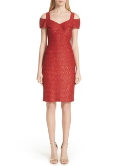 St. John Collection Glamour Sequin Knit Cold Shoulder Dress