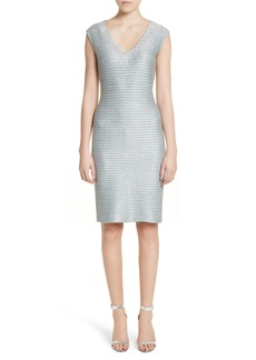 St. John Collection Gleam Metallic Knit Sheath Dress