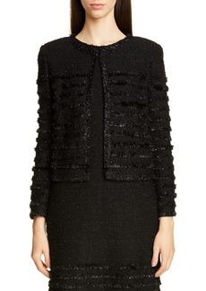 St. John Collection Glimmering Textured Tweed Jacket