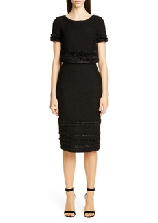 St. John Collection Glimmering Textured Tweed Popover Dress