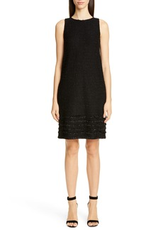 St. John Collection Glimmering Textured Tweed Shift Dress