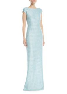 St. John Glitter Sequin Knit Cap-Sleeve Gown