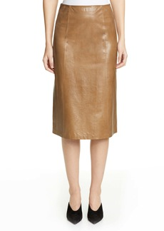 St. John Collection Glossy Calfskin Leather Skirt