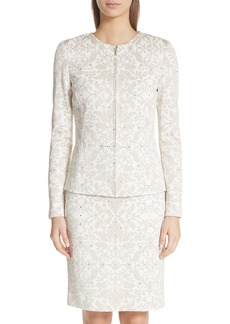 St. John Collection Gold Leaf Brocade Cardigan