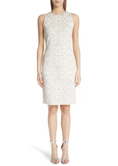 St. John Collection Gold Leaf Brocade Sheath Dress