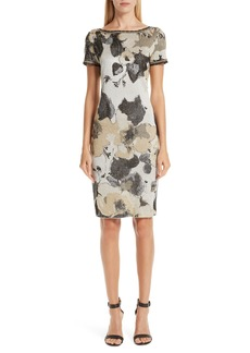 St. John Collection Gold Leaf Jacquard Knit Dress