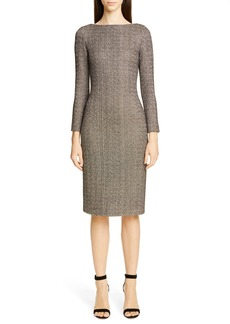 St. John Collection Golden Evening Shimmer Knit Sweater Dress