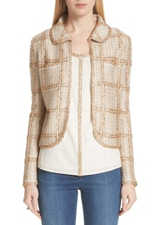 St. John Collection Goldenflag Plaid Knit Jacket