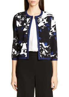 St. John Collection Graphic Floral Jacquard Knit Cardigan