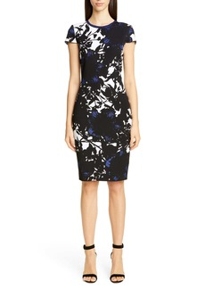 St. John Collection Graphic Floral Jacquard Sweater Dress