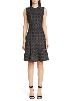 St. John Collection Graphic Ottoman Knit Fit & Flare Sweater Dress