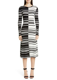 St. John Collection Graphic Stripe Long Sleeve Rib Sweater Dress