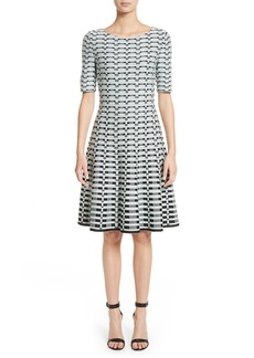 St. John Collection Grid Knit Fit & Flare Dress
