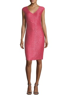 St. John Hansh-Knit V-Neck Cocktail Dress