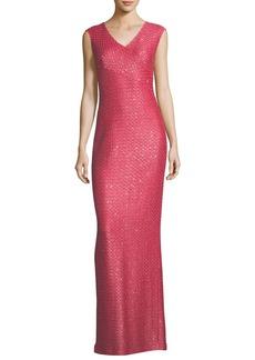 Hansh-Knit V-Neck Column Gown