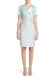 St. John Collection Hansh Satin & Knit Sheath Dress