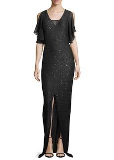 St. John Hansh Sequin-Knit Chiffon-Trim Gown
