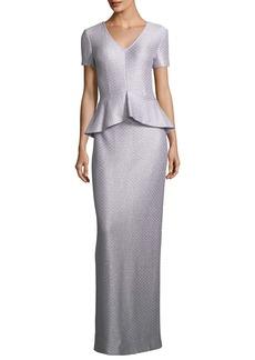St. John Collection Hansh Sequin Peplum Gown