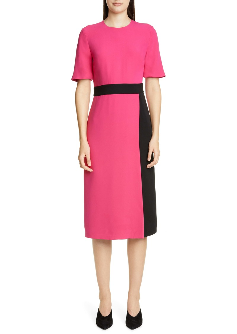 St. John Collection Heavy Silk Georgette Faux Wrap Dress