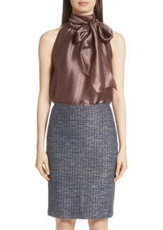 St. John Collection Herringbone Metallic Sleeveless Blouse