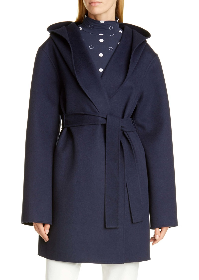 St. John Collection Hooded Wool & Cashmere Double Face Coat