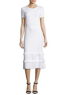 St. John Collection Illusion Grid Knit Short-Sleeve Midi Dress