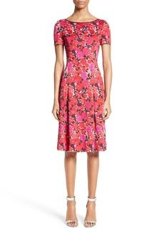 St. John Collection Indian Rose Blister Jacquard Dress