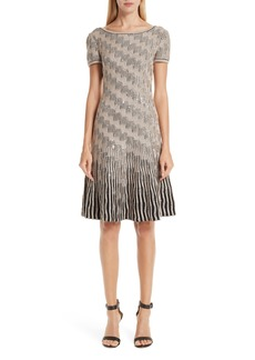 St. John Collection Inlaid Sequin Trellis Fit & Flare Dress