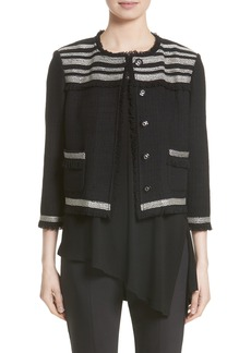 St. John Collection Inlay Fringed Stripe Knit Jacket (Nordstrom Exclusive)