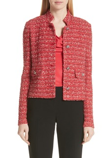 St. John Collection Inlay Stripe Bouclé Knit Jacket