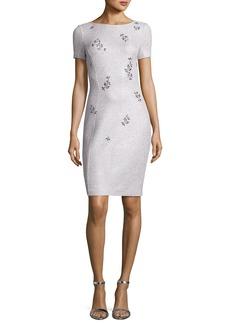 St. John Iridescent Shimmer Knit Bateau-Neck Dress