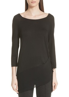 St. John Collection Jersey & Silk Asymmetrical Top (Nordstrom Exclusive)