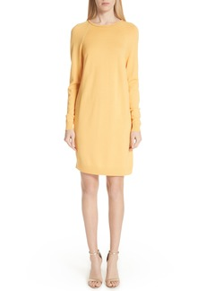 St. John Collection Jersey Knit & Stretch Silk Sweater Dress