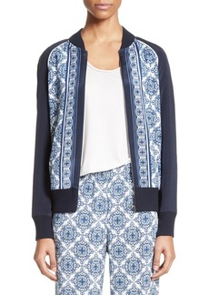 St. John Collection Kali Tile Print Stretch Silk Crêpe de Chine Bomber Jacket