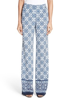 St. John Collection Kali Tile Print Stretch Silk Pants