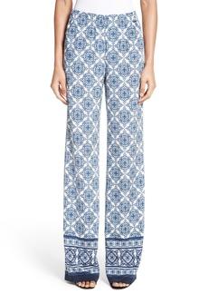 St. John Collection Kali Tile Print Stretch Silk Pants