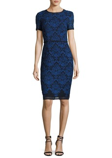 St. John Collection Kamala Embroidered Mesh Pencil Dress