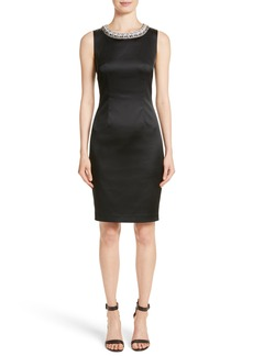 St. John Collection Knit Trim Stretch Satin Dress