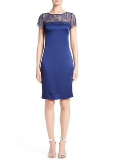 St. John Collection Lace & Satin Crepe Sheath Dress