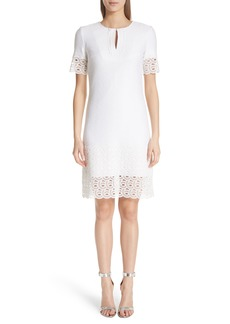 St. John Collection Lace Trim Caris Knit Dress