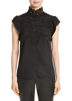 St. John Collection Lace Trim Stretch Silk Crêpe de Chine Top