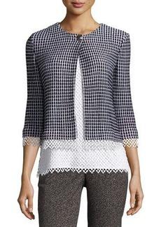 St. John Collection Lace-Trim Textural Grid Knit Jacket
