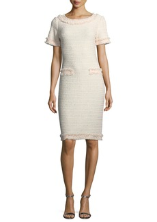 St. John Lais Metallic-Knit Dress w/Fringe Trim