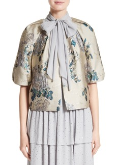 St. John Collection Laksha Floral Jacquard Cocoon Jacket