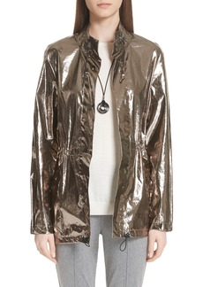 St. John Collection Laminated Metallic Funnel Neck Jacket